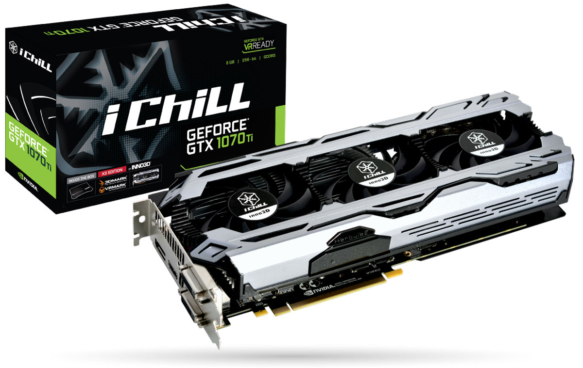 Inno3D GeForce GTX 1070 Ti X3 V2 iChill 8GB видеокарта (C107T3-3SDN-P5DS)