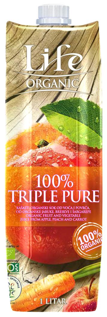 Life Сок яблочно-персиковый с добавлением морковного БИО, 1 л полезный сок яблочный с мякотью 1 8 л