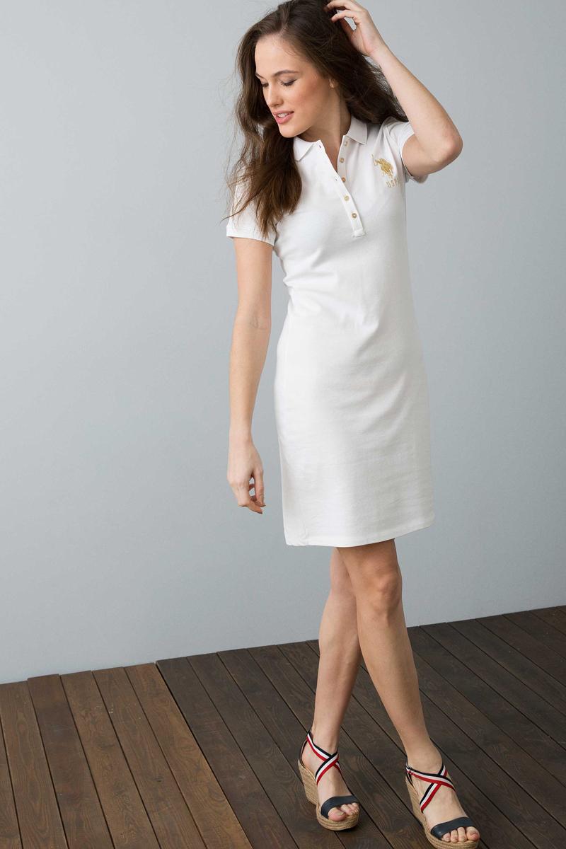 Платье женское U.S. Polo Assn., цвет: белый. G082SZ0750MTS02IY08-075_VR013. Размер XL (50) платье женское u s polo assn цвет хаки g082sz0750mts02iy08 075 vr111 размер xl 50