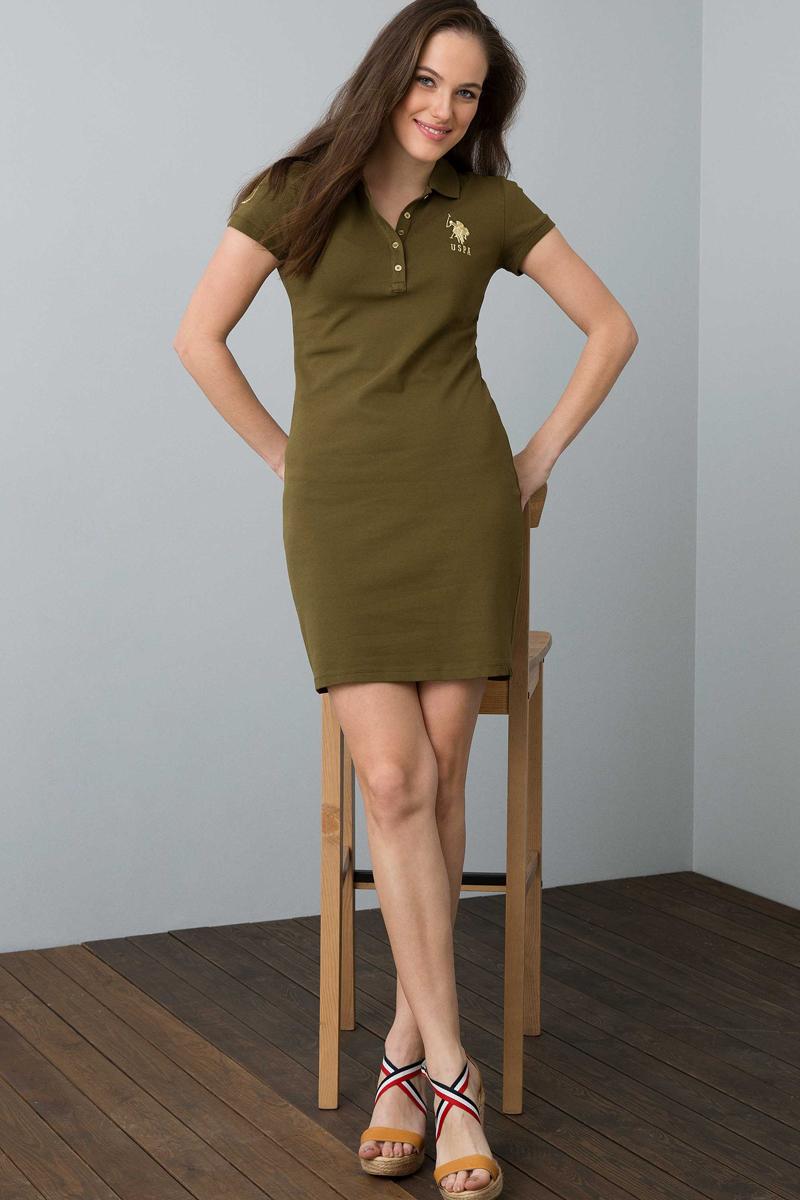 Платье женское U.S. Polo Assn., цвет: хаки. G082SZ0750MTS02IY08-075_VR111. Размер XL (50) хаки xl
