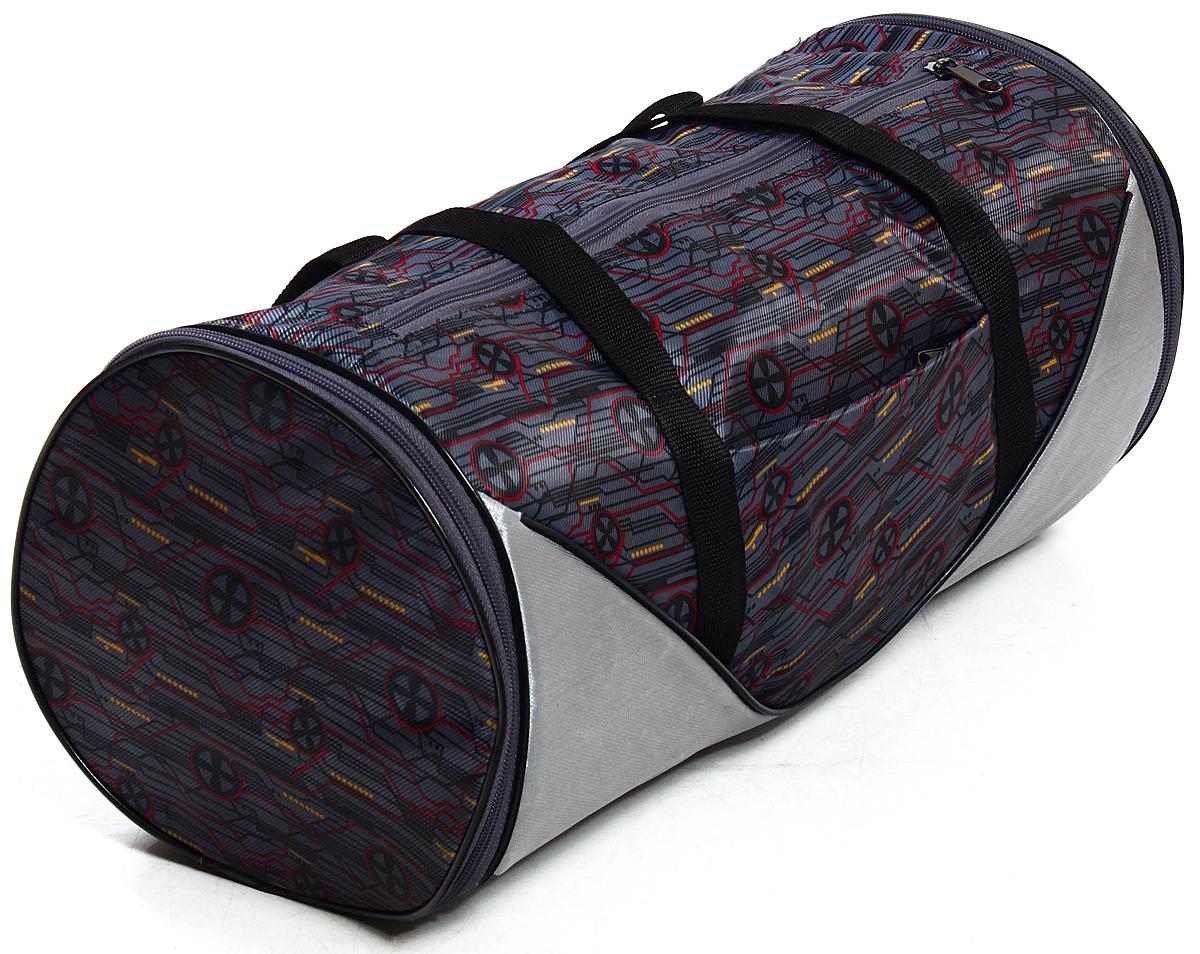 Сумка дорожно-спортивная Ibag, цвет: серый, 34 л6321 микросхемаСумка для фитнеса и тренировок оригинального дизайна пошива, выполненная из ярких, прочных, легкий и водоотталкивающих дизайнов ПВХ, дублирована подкладкой ПУ.Полезный объем сумки можно увеличить за счет расстегивания молний по бокам модели, тем самым увеличить основное отделение в длине на 10см!Также на передней стенке сумки есть вместительный карман на молнии.Удлиненные лямки-ручки фиксируются металлической кнопкой, что придает удобства при носке на плече.