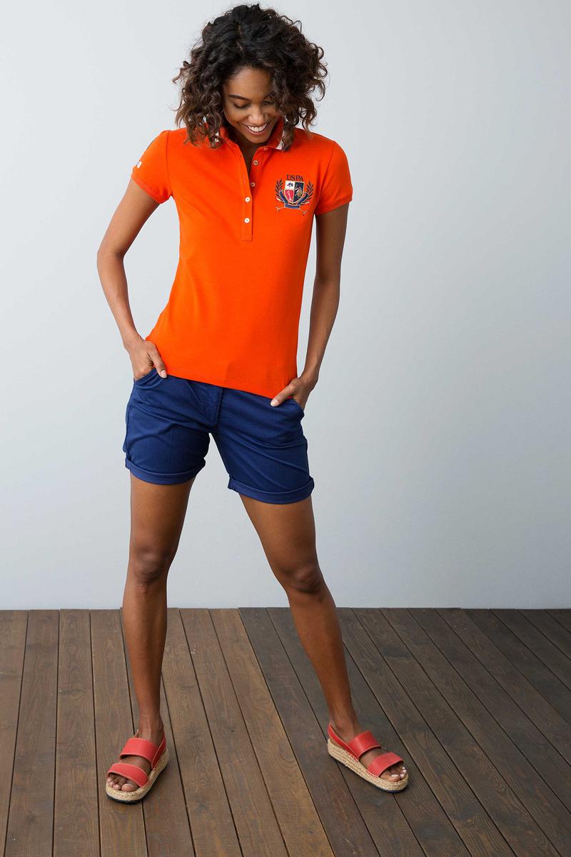 Поло женское U.S. Polo Assn., цвет: оранжевый. G082SZ0110NET_VR031. Размер XL (50)