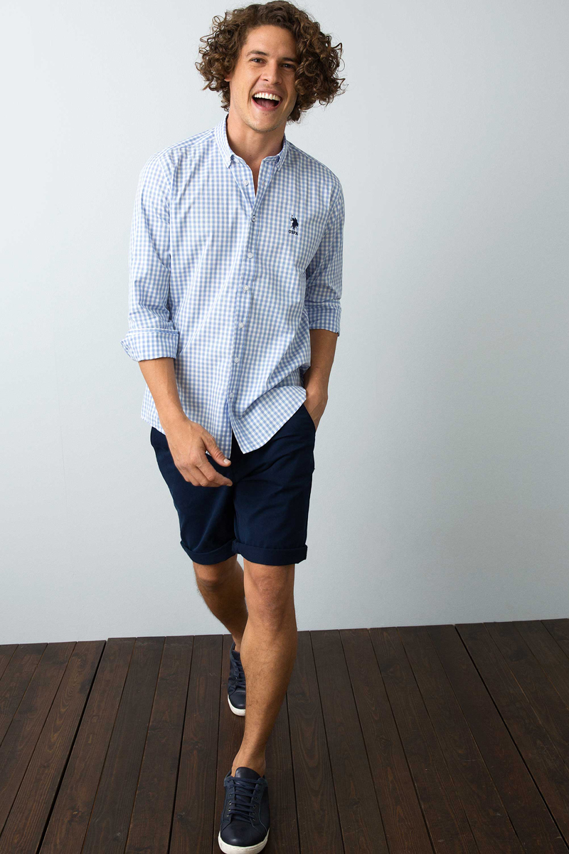 Рубашка мужская U.S. Polo Assn., цвет: голубой. G081SZ0040FERNANDO_VR036. Размер XL (52) virtue мужская рубашка бизнес стиль
