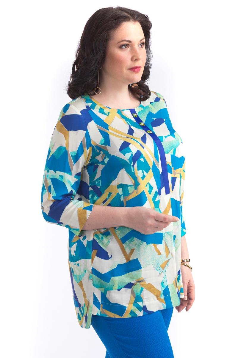 Блузка женская Averi, цвет: синий. 1404. Размер 48 (50)1404Элегантная блузка прямого силуэта с принтом собственной разработки. Овальная горловина, контрастная репсовая тесьма по переду с декоративными стразами. Такой фасон подходит для фигуры любого типа, скрывает возможные несовершенства, подчеркивает достоинства. Модель прекрасно сочетается с брюками из коллекции Averi.