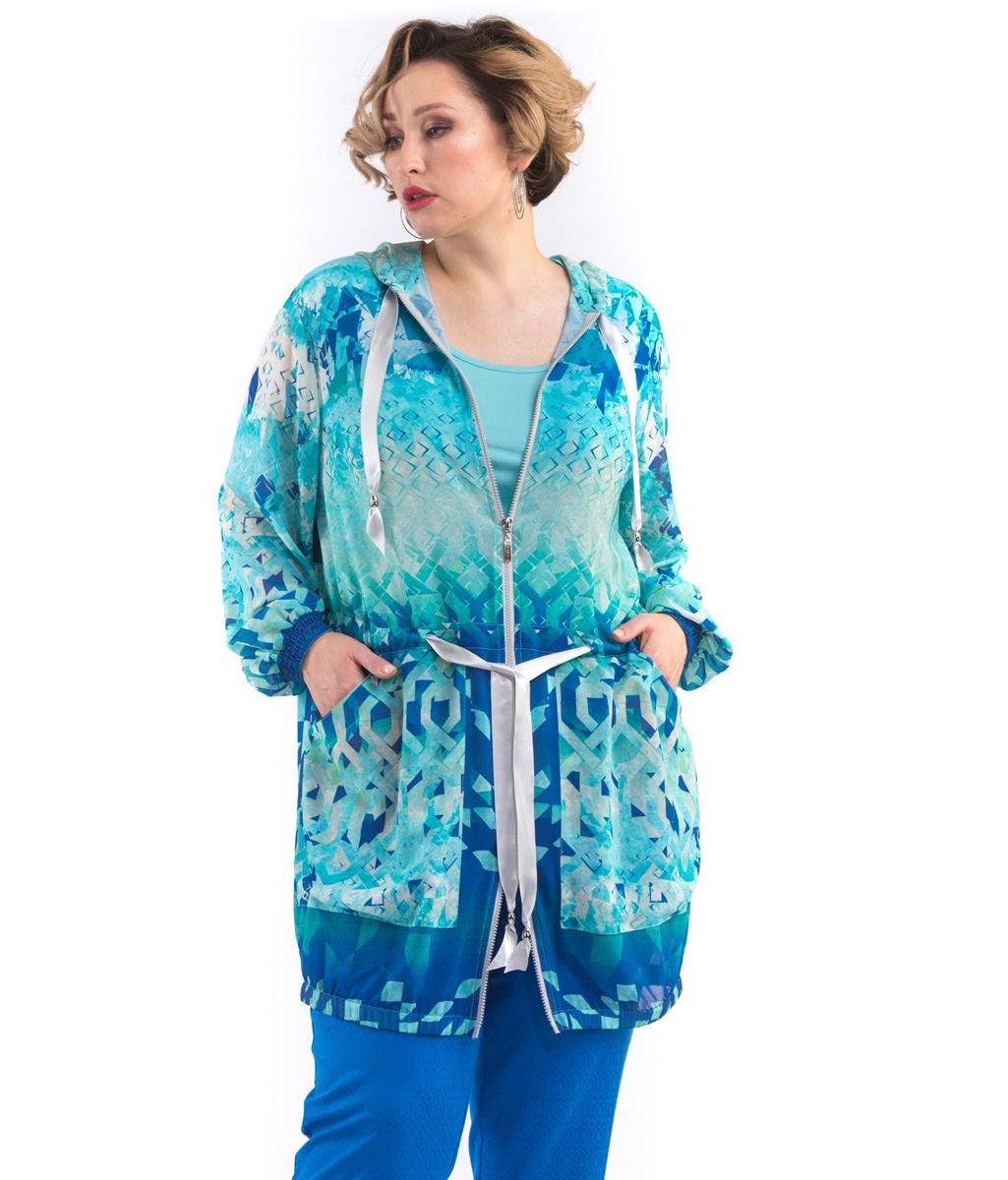 Куртка женская Averi, цвет: бирюзовый. 1402. Размер 64 (66) блузка женская averi цвет голубой 1440 размер 50 52
