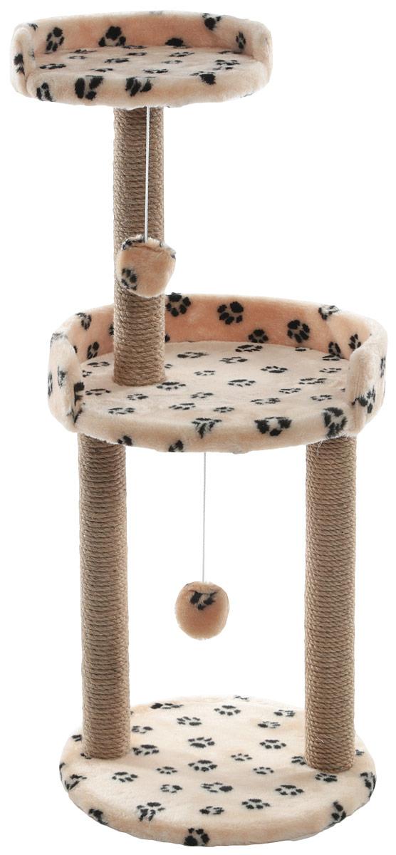 Когтеточка Меридиан, с игрушкой и площадкой, цвет: бежевый, черные лапки, 43 х 43 х 100 смК512Ла_бежевый,черные лапк