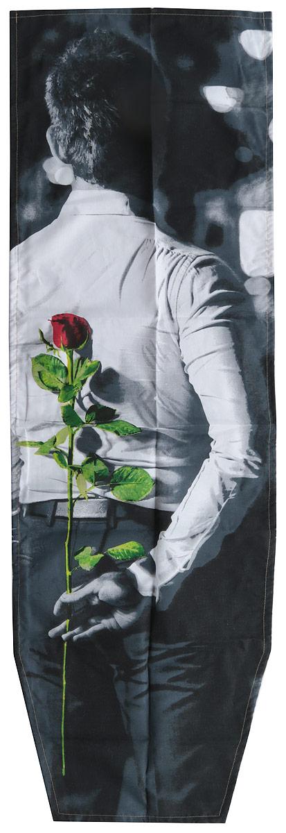 Чехол для гладильной доски Nika, универсальный, цвет: белый,черный, 129 х 40 смЧ1_белый,черный, розаЧехол для гладильной доски Nika, универсальный, цвет: белый,черный, 129 х 40 см
