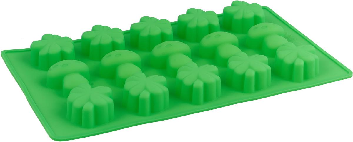 Форма для выпечки Доляна Грибочки, цвет: салатовый, 15 ячеек, 17 х 29 х 2 см ваза 29 5 см х 21 см х 34 см