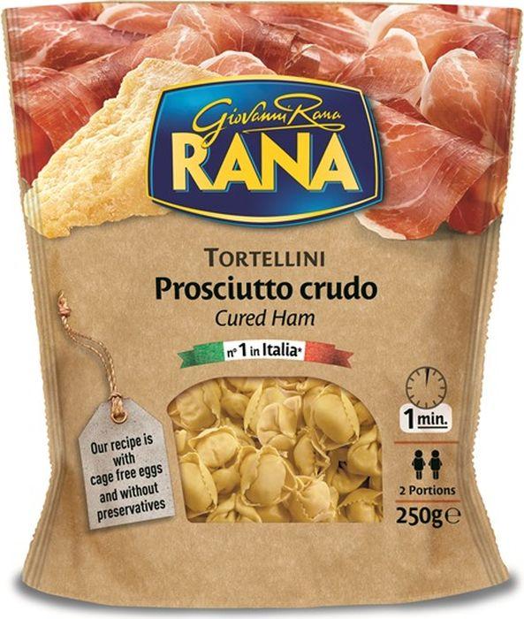 """Сыровяленая ветчина и сыр - наиболее известные итальянские деликатесы, выбранные для начинки Тортеллини """"Rana"""". Подходят для приготовления супа, их можно приготовить как самостоятельное блюдо в сочетании со сливочным или оливковым маслом. Время приготовления: 1 минута в кипящей воде.Вес: 250 г.Начинка: 51% .Содержание яиц: 30 %."""