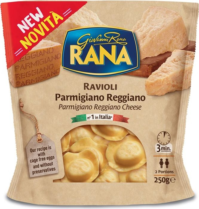 """В основе рецептуры два наиболее традиционных продукта Италии – легендарный сыр Пармиджано и паста равиоли. Насладитесь равиоли """"Rana"""" в сочетании с оливковым маслом.Время приготовления: 3 минуты в кипящей воде.Вес: 250 г. Начинка: 52%. Содержание яиц: 30 %."""