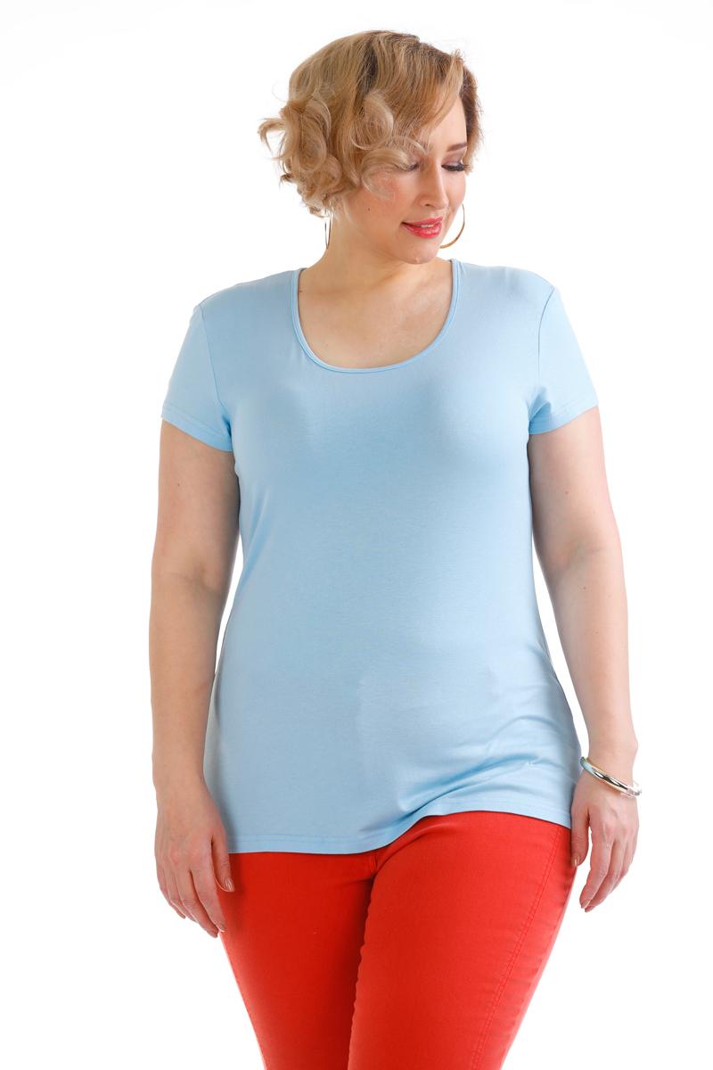 Блузка женская Averi, цвет: голубой. 1440. Размер 48 (50)1440Трикотажная блузка по типу футболка полуприлегающего силуэта с коротким рукавом из тонкого, приятного к телу вискозного трикотажа. Модель станет отличным компаньоном для всех жакетов и кардиганов из нашей коллекции.