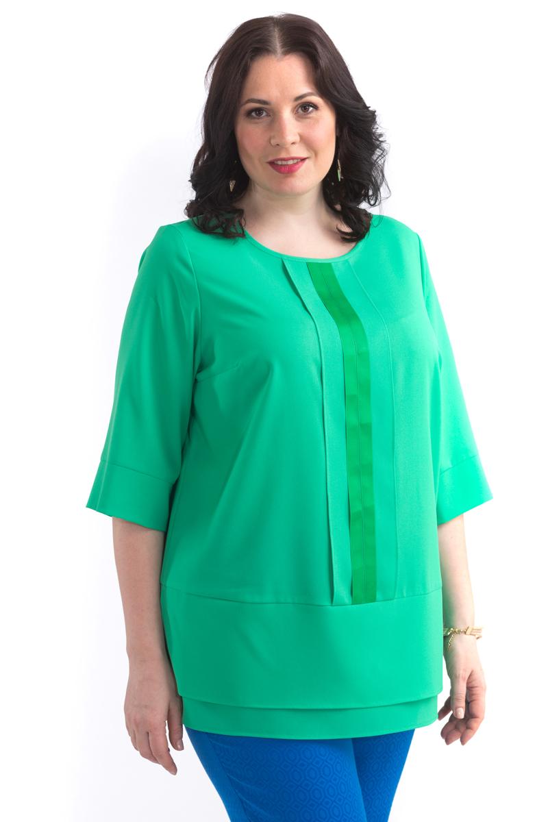 Блузка женская Averi, цвет: зеленый. 1443. Размер 60 (64)1443Элегантная блузка прямого силуэта. На полочке отлетная планка с репсовой тесьмой, овальная горловина, прямой широкий рукав на манжете, низ изделия двойной с разрезами. Такой фасон подходит для фигуры любого типа, скрывает возможные несовершенства, подчеркивает достоинства. Модель прекрасно сочетается с брюками из коллекции Averi.