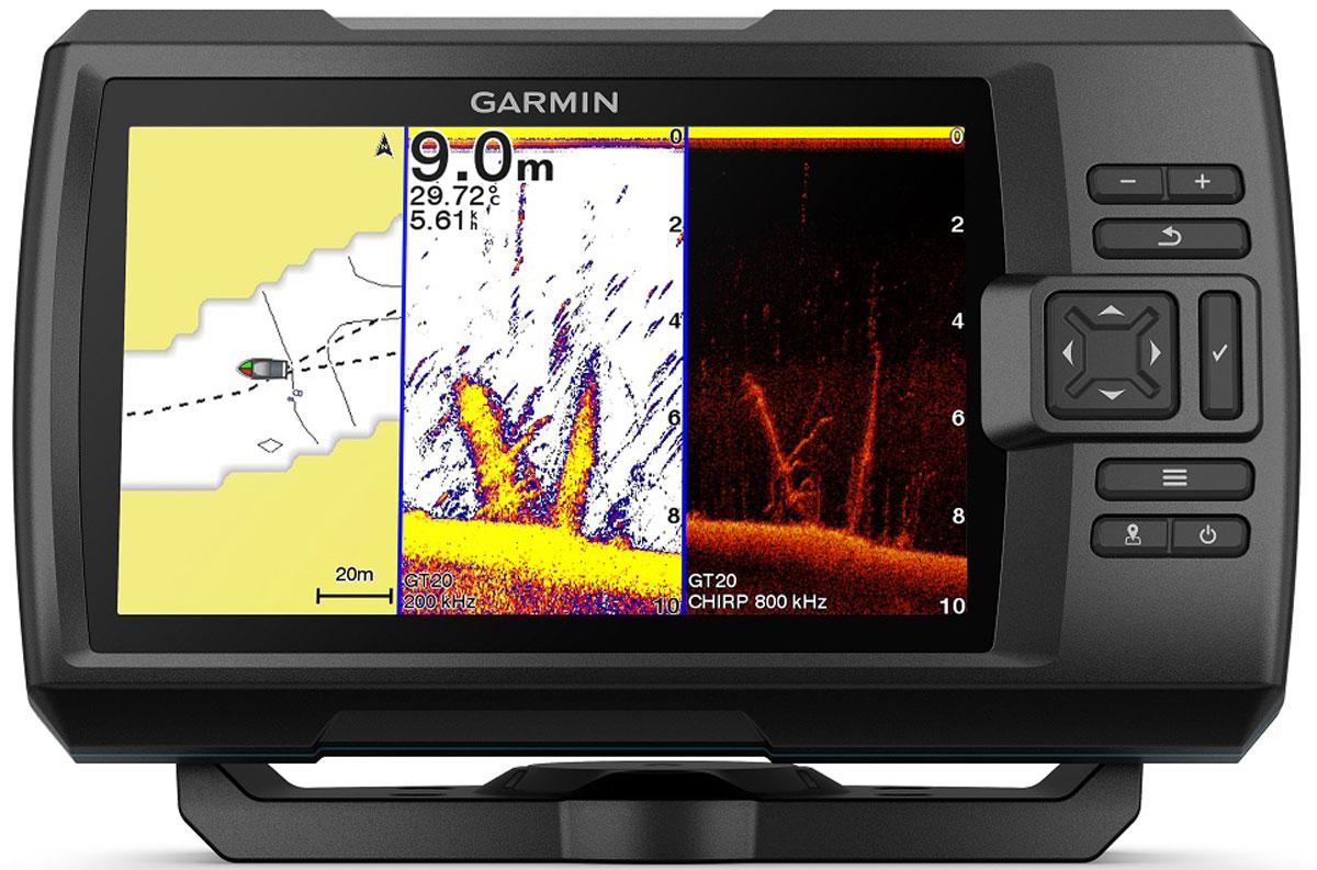"""Рыбопоисковый эхолот с дисплеем 7"""", GPS, передовым сонаром и программой Quickdraw Contours  для создания карт. Включает трансдьюсер для встроенного традиционного сонара Garmin CHIRP и сканирующих  сонаров CHIRP ClearVu и CHIRP SideVu. Встроенное картографическое программное обеспечение Garmin Quickdraw™ Contours позволяет  создавать и сохранять карты с изобатами через 30 см для площади до 8 тыс. кв.км. Встроенный Wi-Fi® для доступа к приложению ActiveCaptainTM, которое позволяет получать  оповещения от смартфона1, использовать данные сообщества Garmin QuickdrawTM,  обмениваться маршрутными точками и получать оповещения об обновлениях ПО. Встроенный 5 Гц GPS-приемник для отметки маршрутных точек, создания маршрутов и просмотра  скорости судна. Яркий дисплей 7"""" с отличным качеством изображения даже при солнечном свете и интуитивный  интерфейс пользователя"""