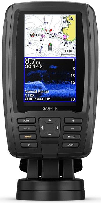 """Картплоттер/эхолот Garmin Echomap Plus 42cv, с транцевым трансдьюсером GT20. 010-01884-01010-01884-01Это компактное комбинированное устройство предлагает множество встроенных возможностей.Прибор, обеспечивающий легкую установку и простоту использования, оснащен ярким дисплеем4,3"""" с отличным изображением даже при солнечном освещении. Предлагается встроеннаяподдержка традиционного сонара Garmin CHIRP, гарантирующая потрясающее разделениецелей, и сканирующего сонара CHIRP ClearVu для получения почти фотографическихизображений того, что находится под судном. Устройство включает предзагруженную базовуюкарту мира, а также совместимость с картографией BlueChart g2 HD и BlueChart g2 Vision HD.Картографическая программа Quickdraw Contours позволяет создавать персонализированныерыболовные карты с изобатами через 20 см непосредственно во время плавания. Полученныекарты являются вашей собственностью. Вы можете хранить их для личного пользования илиподелиться с другими членами сообщества Quickdraw Community на Garmin Connect™. Устройствопозволяет выполнять обмен маршрутами и маршрутными точками с другими приборамиECHOMAP или STRIKER. В оборудовании используется быстросъемное крепление, благодарякоторому вы можете быстро демонтировать прибор и отключать его от питания."""