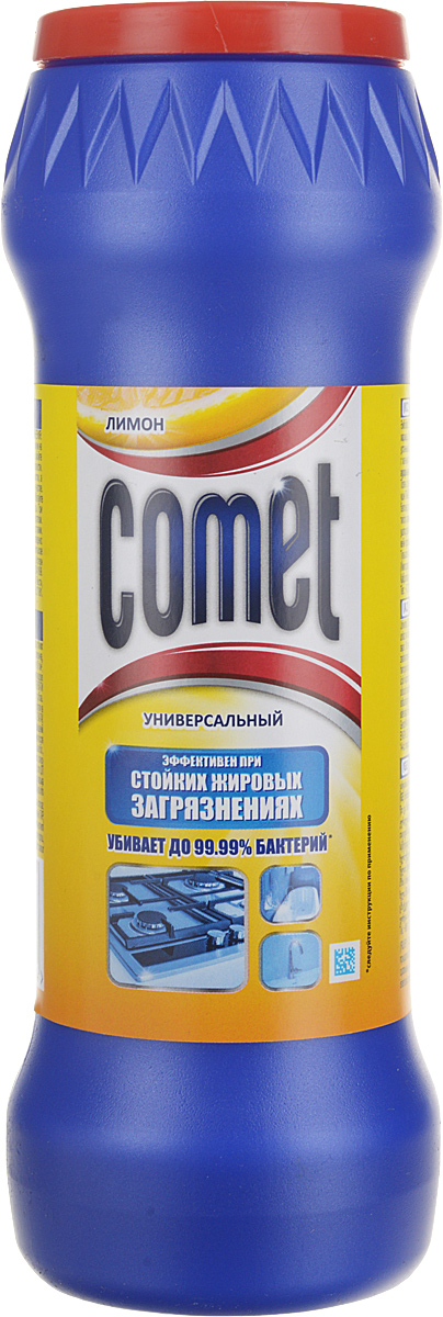 """Чистящий порошок Comet """"Двойной эффект"""" глубоко очищает поверхности, удаляет повседневные загрязнения и обычный жир во всем доме. Comet """"Двойной эффект"""" является 100% экспертом в дезинфекции благодаря формуле с хлоринолом. Удаляет 99,9% микробов. Обладает приятным ароматом лимона. Характеристики: Вес: 475 г.   Уважаемые клиенты! Обращаем ваше внимание на то, что упаковка может иметь несколько видов дизайна. Поставка осуществляется в зависимости от наличия на складе.   Как выбрать качественную бытовую химию, безопасную для природы и людей. Статья OZON Гид"""