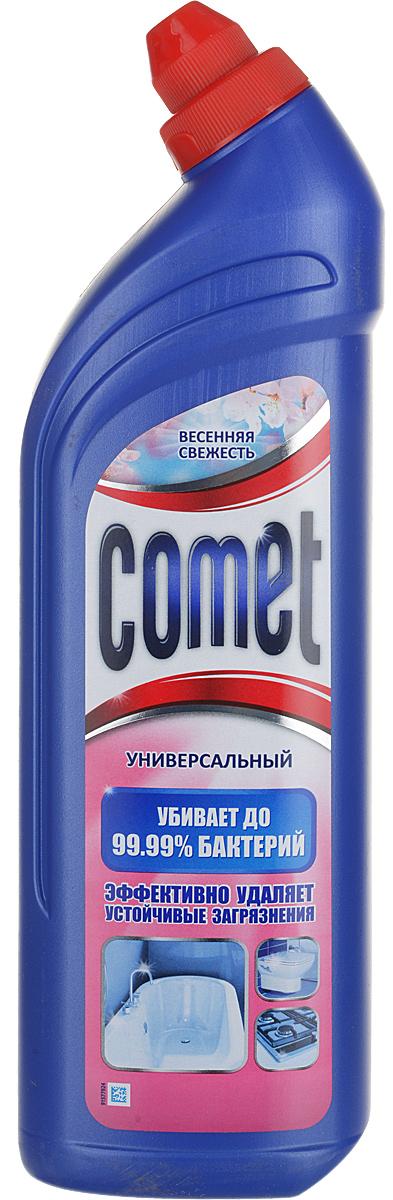 """Универсальный чистящий гель Comet """"Двойной эффект"""" предназначен для глубокого очищения поверхностей. Эффективно удаляет повседневные загрязнения и обычный жир во всем доме, а также дезинфицирует поверхности. Средство подходит для плит (в том числе стеклокерамических), ванн, раковин, унитазов, кафеля, мытья полов. Обладает приятным свежим ароматом. Характеристики:  Состав: Объем: 1 л.  Уважаемые клиенты! Обращаем ваше внимание на то, что упаковка может иметь несколько видов дизайна. Поставка осуществляется в зависимости от наличия на складе.   Товар сертифицирован.    Как выбрать качественную бытовую химию, безопасную для природы и людей. Статья OZON Гид"""