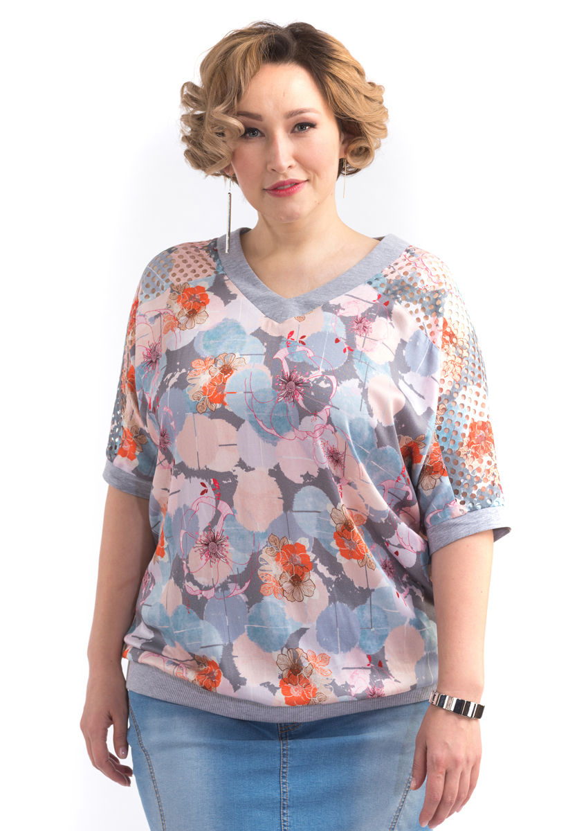 Блузка женская Averi, цвет: светло-серый. 1434. Размер 64 (66) блузка женская averi цвет голубой 1440 размер 50 52