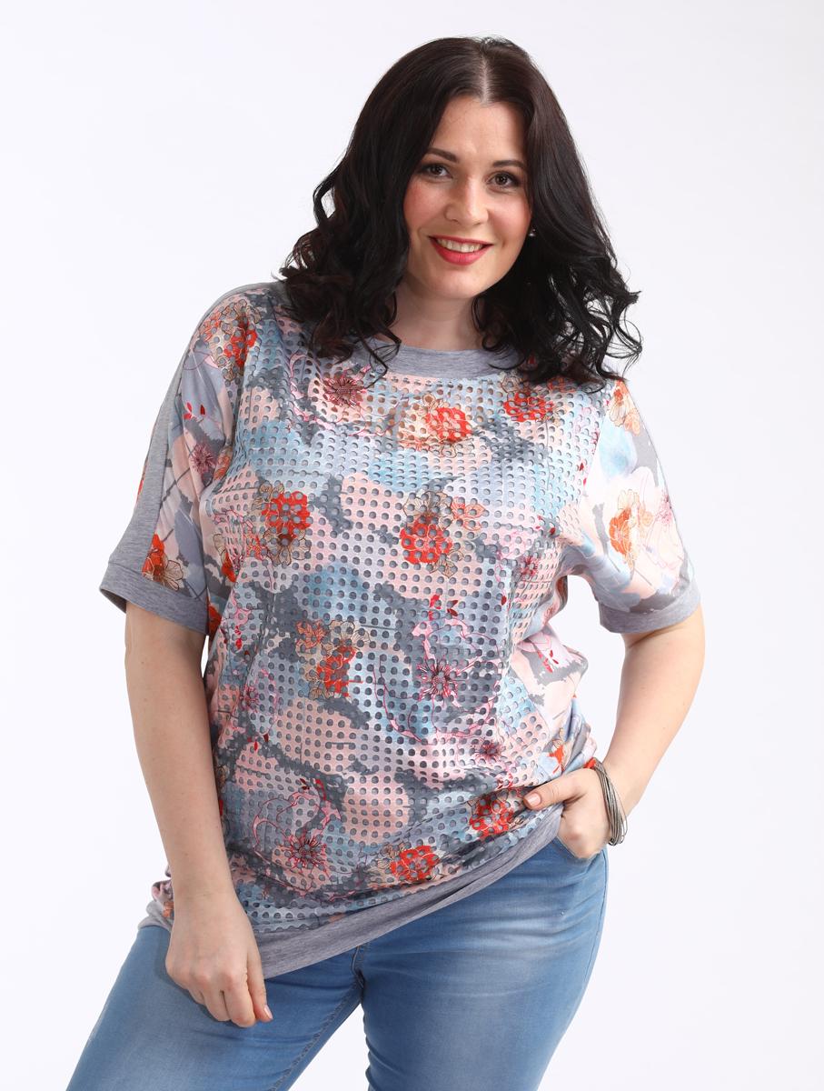 Блузка женская Averi, цвет: светло-серый. 1450. Размер 64 (66) блузка женская averi цвет оранжевый 1440 размер 64 66