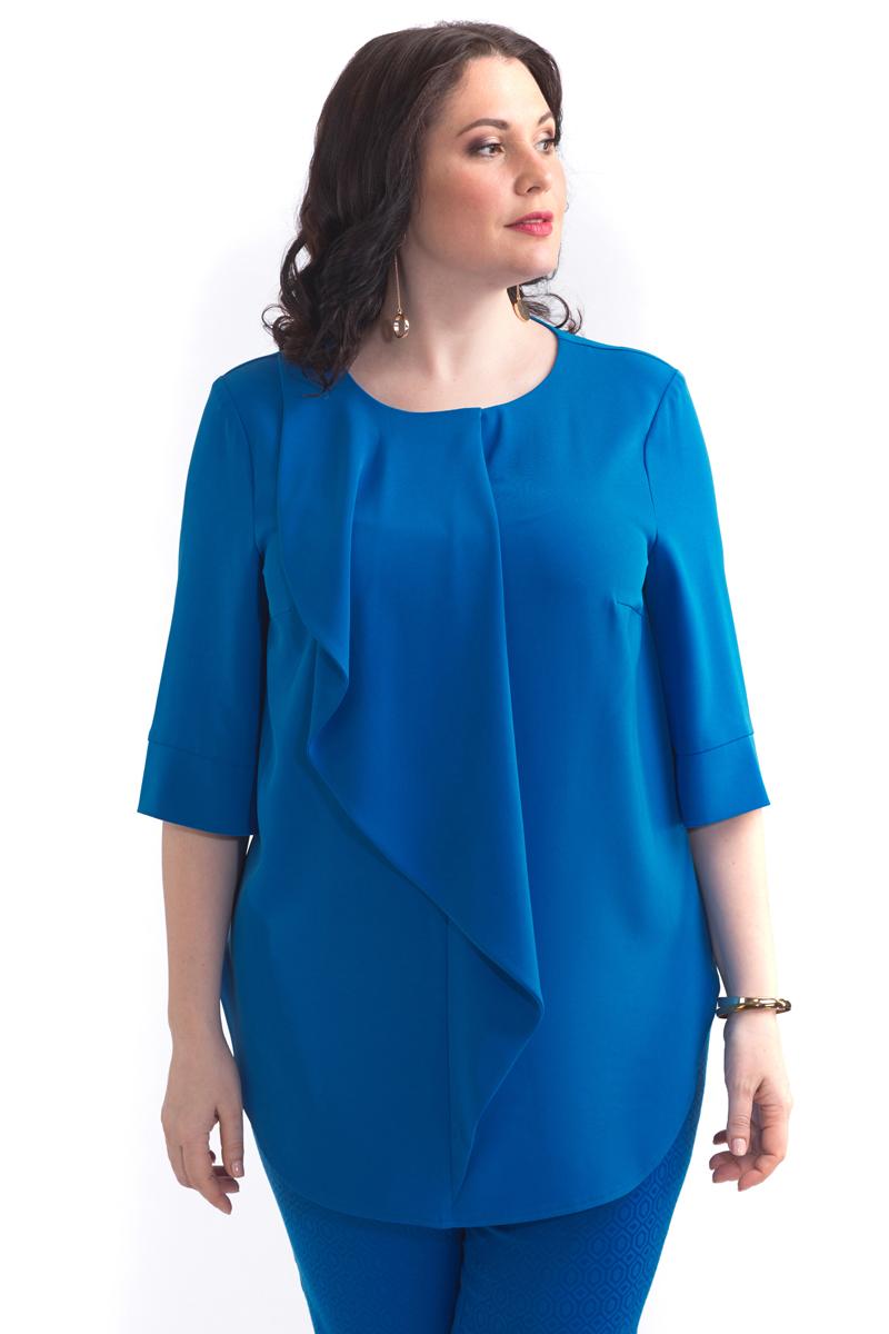 Блузка женская Averi, цвет: синий. 1430. Размер 52 (56)1430Элегантная блузка прямого силуэта. Овальная горловина с широки воланом, прямой широкий рукав на манжете. Такой фасон подходит для фигуры любого типа, скрывает возможные несовершенства, подчеркивает достоинства. Модель прекрасно сочетается с брюками из коллекции Averi.