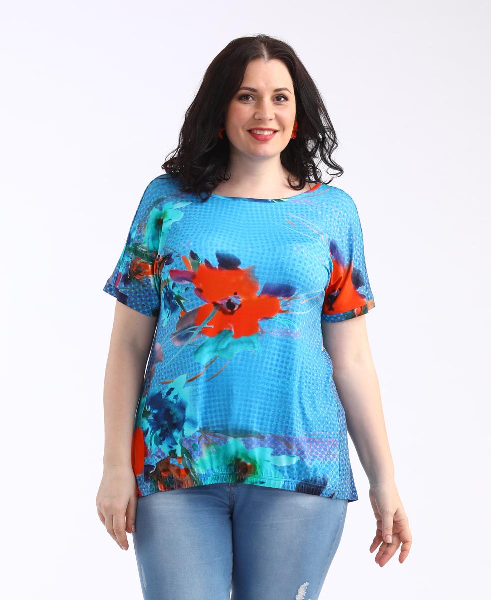 Блузка женская Averi, цвет: синий. 1436. Размер 64 (66) блузка женская averi цвет оранжевый 1440 размер 64 66