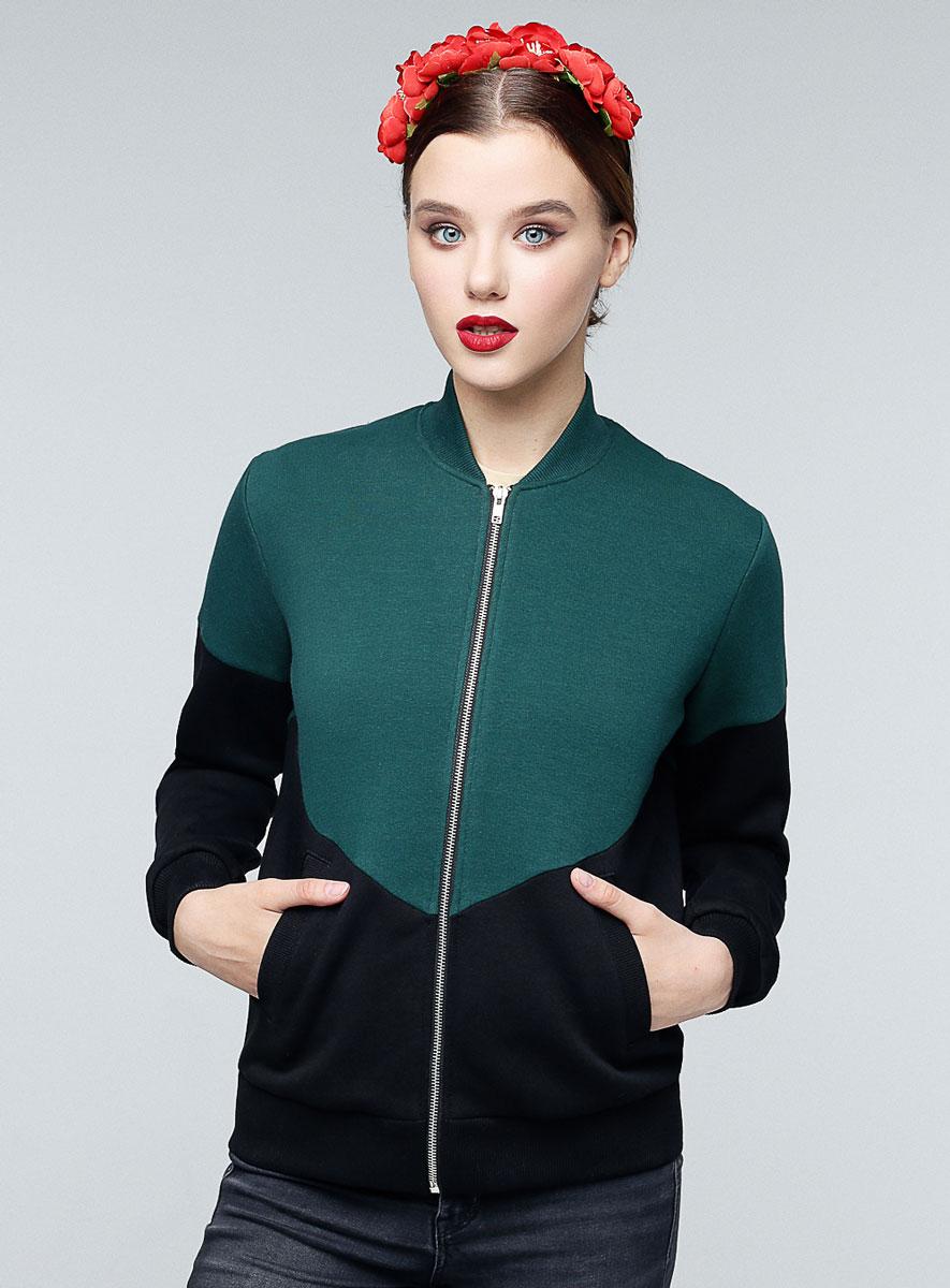 Бомбер женский Eniland Rosa, цвет: черный, зеленый. 90091703. Размер L (46) женский гардероб