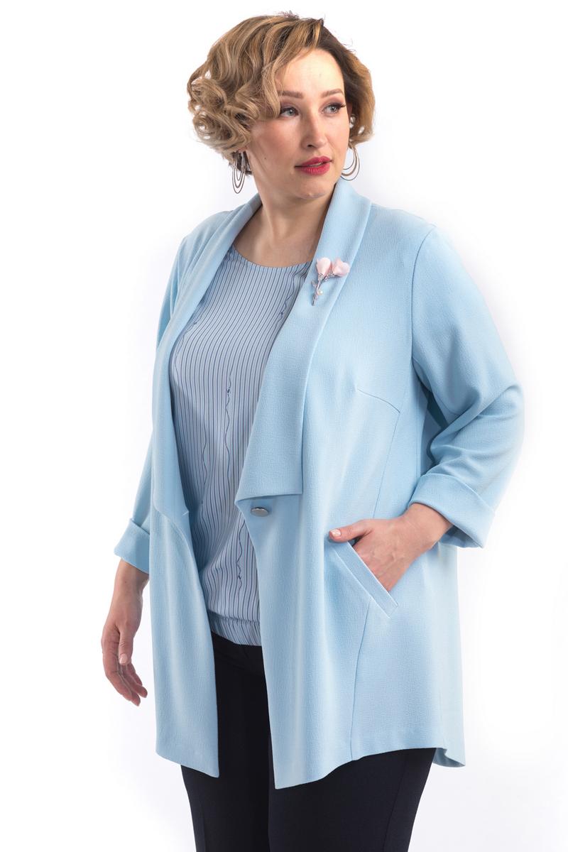 Жакет женский Averi, цвет: голубой. 1420. Размер 60 (64) блузка женская averi цвет голубой 1440 размер 50 52