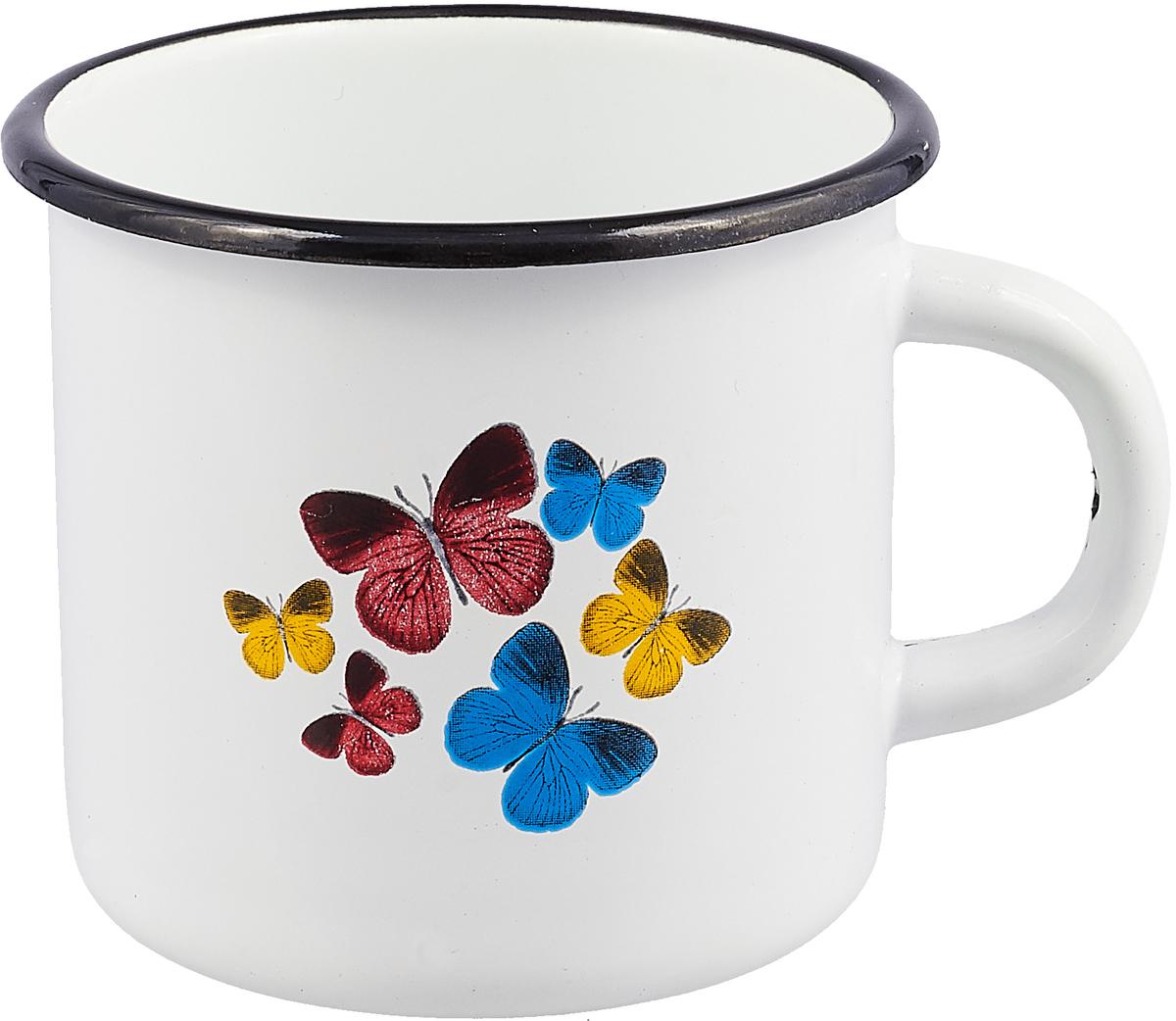 Кружка эмалированная Эмаль Бабочки, цвет: белый, 400 мл01-0103/4М_белый, бабочкиКружка эмалированная Эмаль Бабочки, цвет: белый, 400 мл