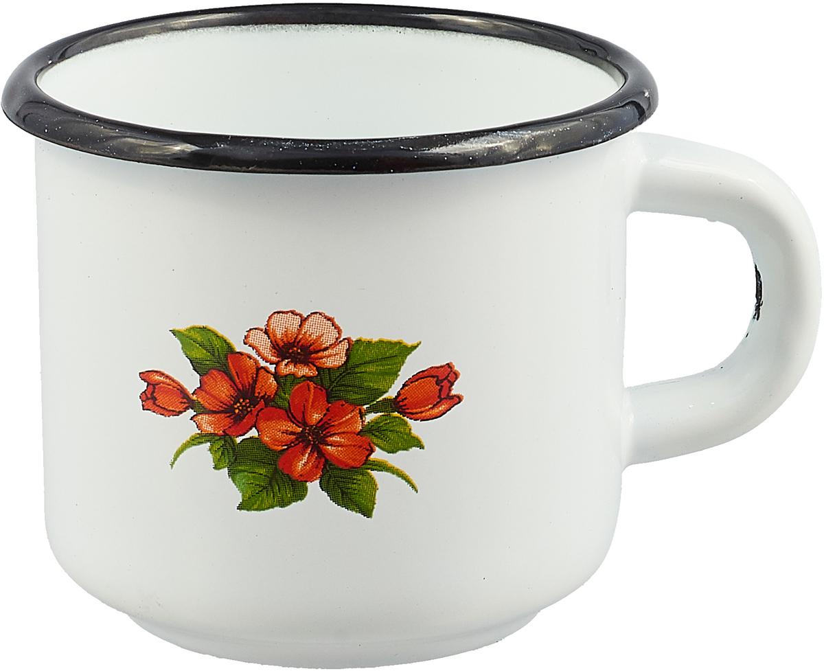 """Кружка эмалированная СтальЭмаль """"Цветок"""", цвет: белый, оранжевый, 250 мл"""