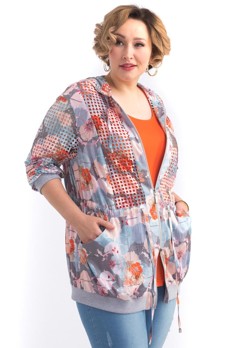 Куртка женская Averi, цвет: светло-серый. 1433. Размер 64 (66) блузка женская averi цвет голубой 1440 размер 50 52