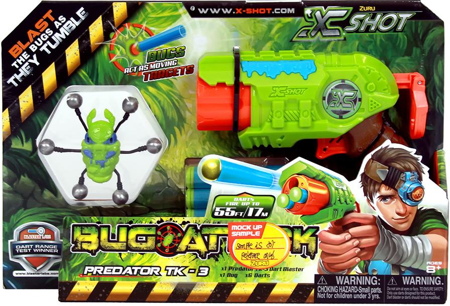 X-Shot Микро Бластер с мишенями Атака пуков бластер x shot атака пауков зеленый коричневый красный 4815