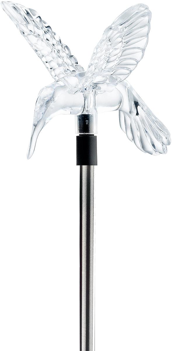 Светильник популярной модели на длинной стальной стойке, светящийся элемент в виде прозрачной фигурки. Две разные насадки: Колибри + Цветок.Белый светодиод.