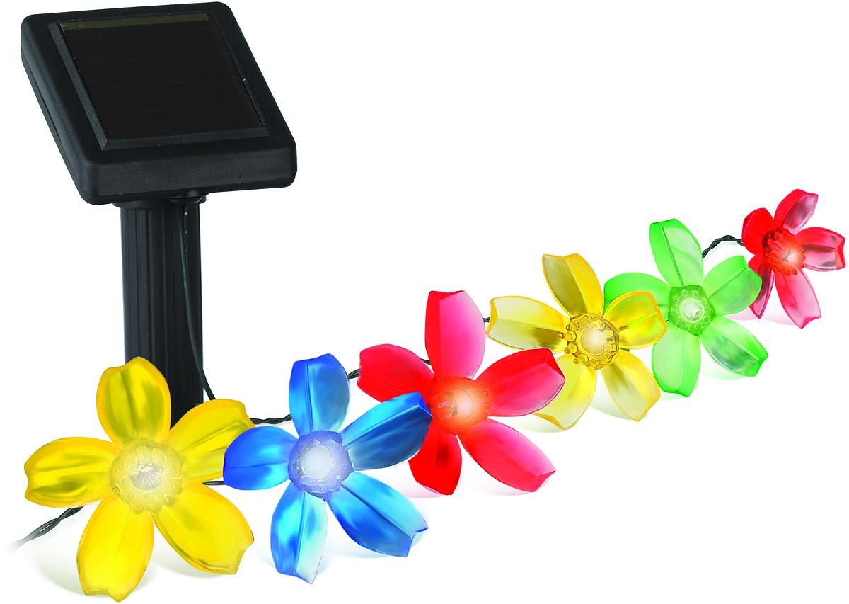 Светильник садовый ЭРА Электротовары, на солнечной батарее, длина 400 смSL-PL400-FLW10Садовая гирлянда из 10 разноцветных цветочков, длина 4 метра.