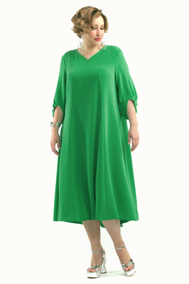 Платье Averi, цвет: зеленый. 1429. Размер 54 (58)1429Элегантное платье свободного силуэта. Интересные рукава придают платью торжественность и современность. Горловина с V-образным вырезом. Платье подчеркнет вашу особенную индивидуальность.