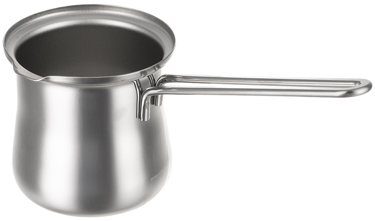 Кофе – уникальный напиток, который любят за вкус и аромат, а его приготовление – это целое искусство. Традиционным способом для получения  вкуса и аромата остаётся приготовление в специальном сосуде, представляющем собой толстостенный металлический ковш с длинной ручкой,  который всем нам известен как турка для кофе. Материал: Высококачественная нержавеющая сталь AiSi 304 (соотношение хром/никель 18/10).  Подходит для всех типов плит, кроме индукционных.