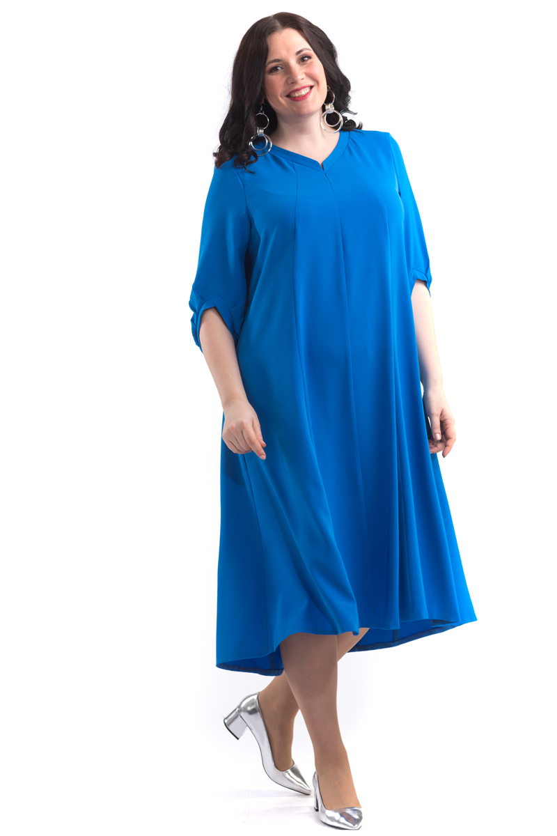 Платье Averi, цвет: синий. 1429. Размер 64 (68)1429Элегантное платье свободного силуэта. Интересные рукава придают платью торжественность и современность. Горловина с V-образным вырезом. Платье подчеркнет вашу особенную индивидуальность.