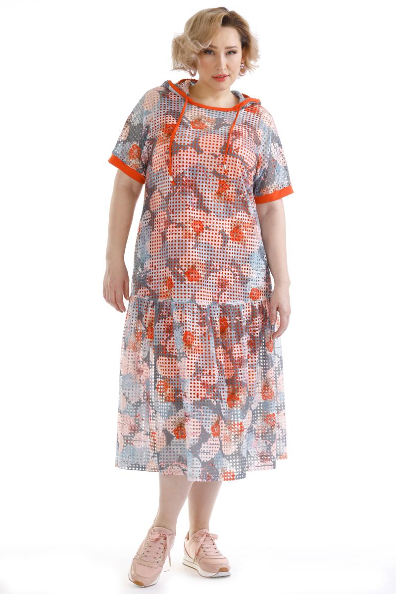 Платье Averi, цвет: светло-серый. 1466. Размер 48 (50)1466Платье свободного силуэта из сетки с принтом собственной разработки с внутренним трикотажным платьем-майкой из вискозы. Цельнокроеный короткий рукав с контрастной планкой. Вырез горловины лодочка с капюшоном. Широкий отрезной волан на уровне середины бедра присборен по линии шва. Оригинальная модель с цветочным принтом, украсит летний повседневный образ.