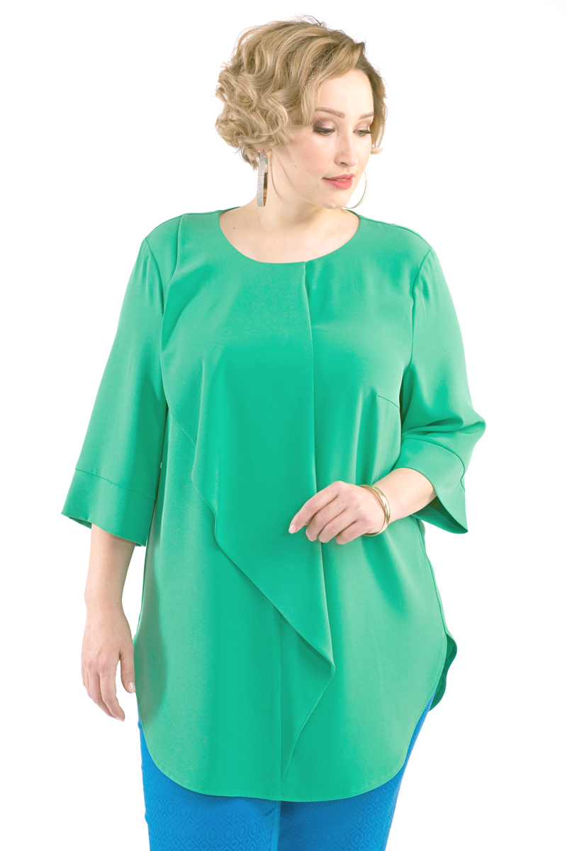 Блузка женская Averi, цвет: зеленый. 1430. Размер 64 (68) блузка женская averi цвет оранжевый 1440 размер 64 66