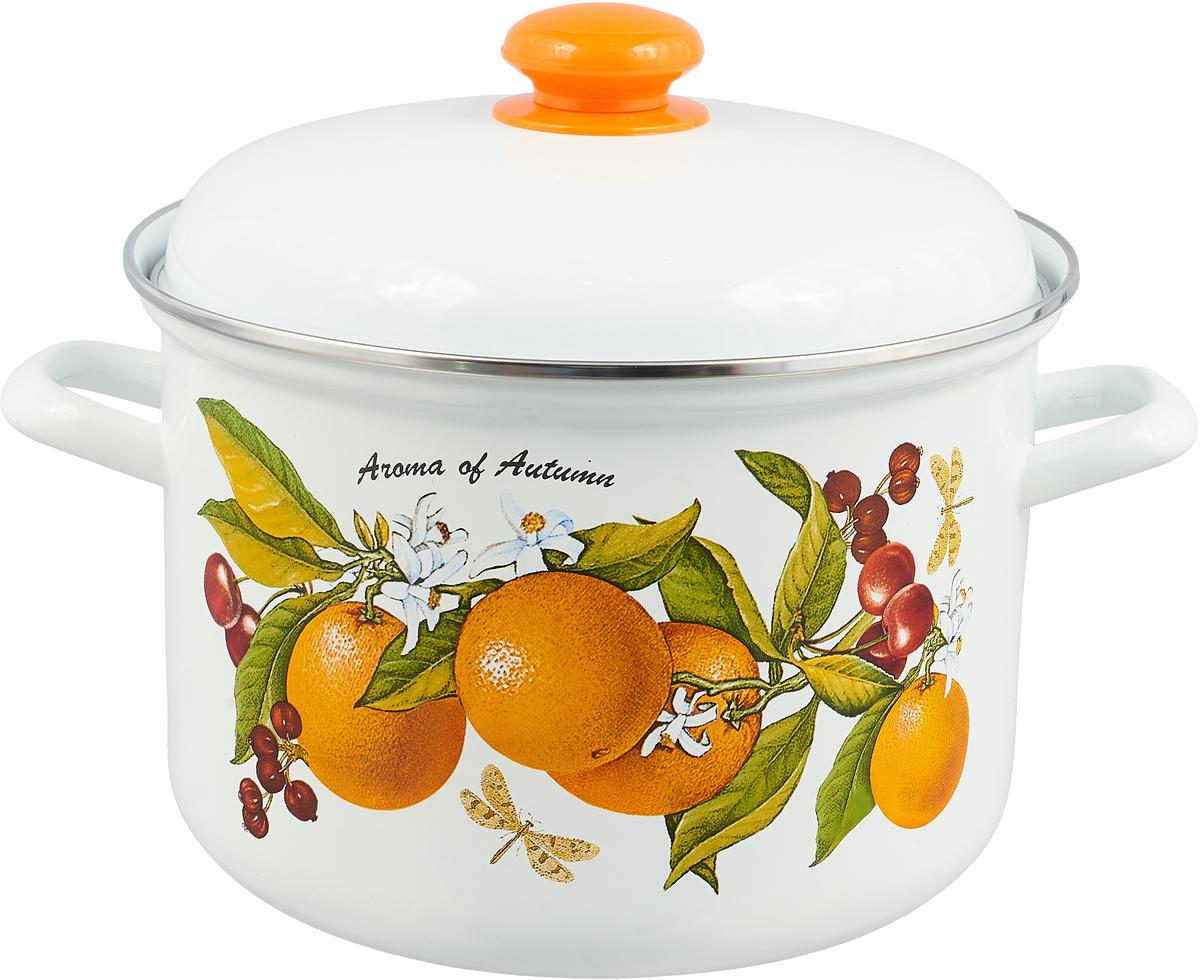 Кастрюля Лысьвенские эмали Апельсины с крышкой, 6 л чайники для плиты лысьвенские эмали чайник 1 0 л заварочный рис лысьвенские эмали
