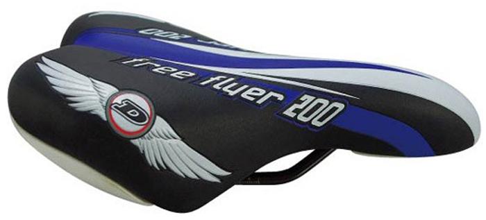 Седло велосипедное подростковое DDK 1217A, цвет: черный, голубой