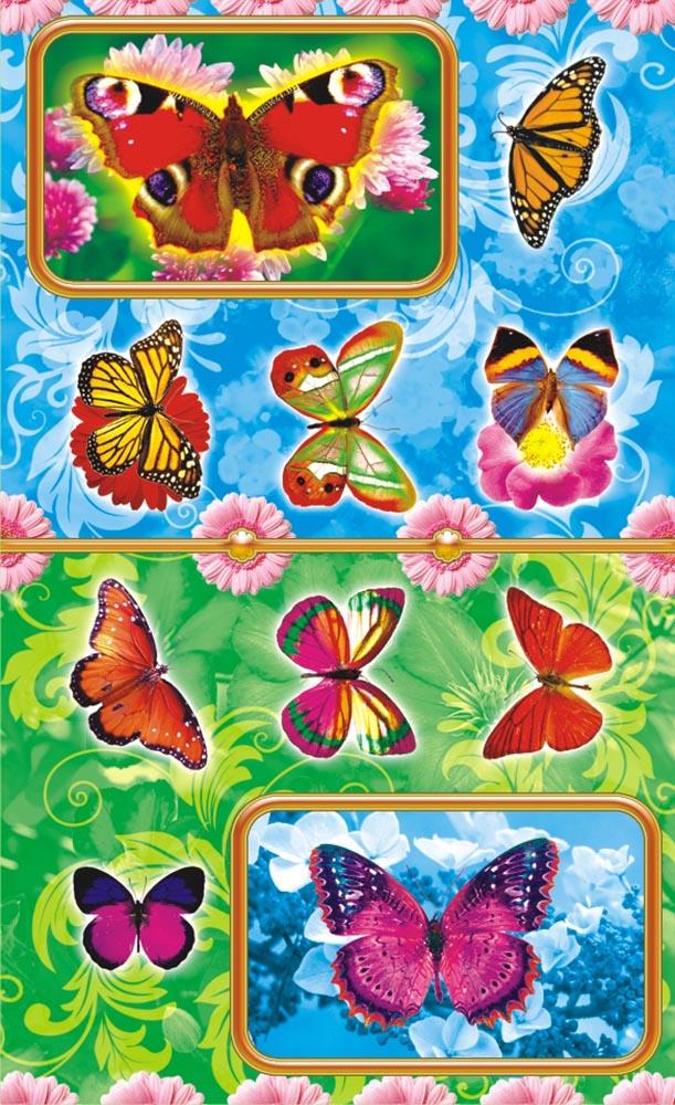 Яркие, красочные наклейки для детей. Формат листа 160х97, УФ-лак и отделка глиттером, с квадратной вырубкой.