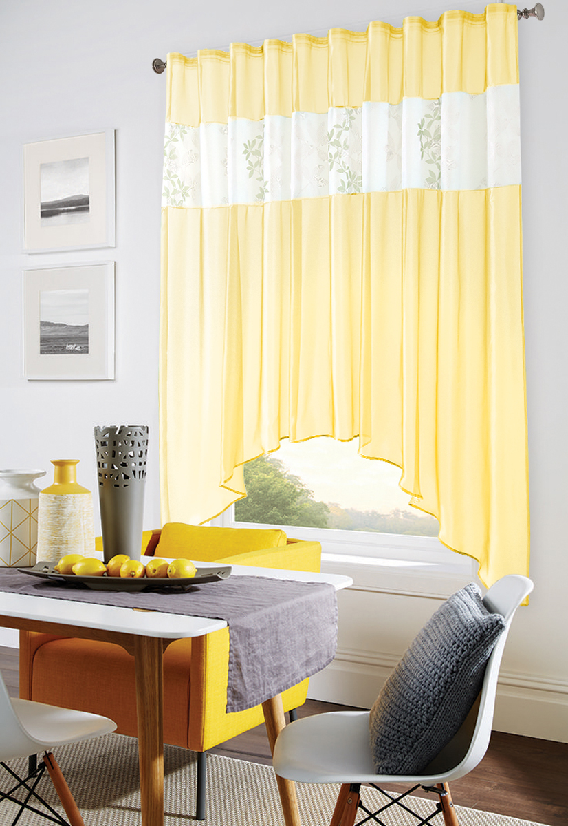 Штора Garden, на ленте, цвет: желтый, высота 170 см. С W875 V8С W875 V8Изящная штора Garden выполнена из однотонной полуорганзы, подходит для кухни. br> Приятная текстура и цвет штор привлекут к себе внимание и органично впишутся в интерьерпомещения. Штора крепится на карниз при помощи ленты, которая поможет красиво и равномернозадрапировать верх.