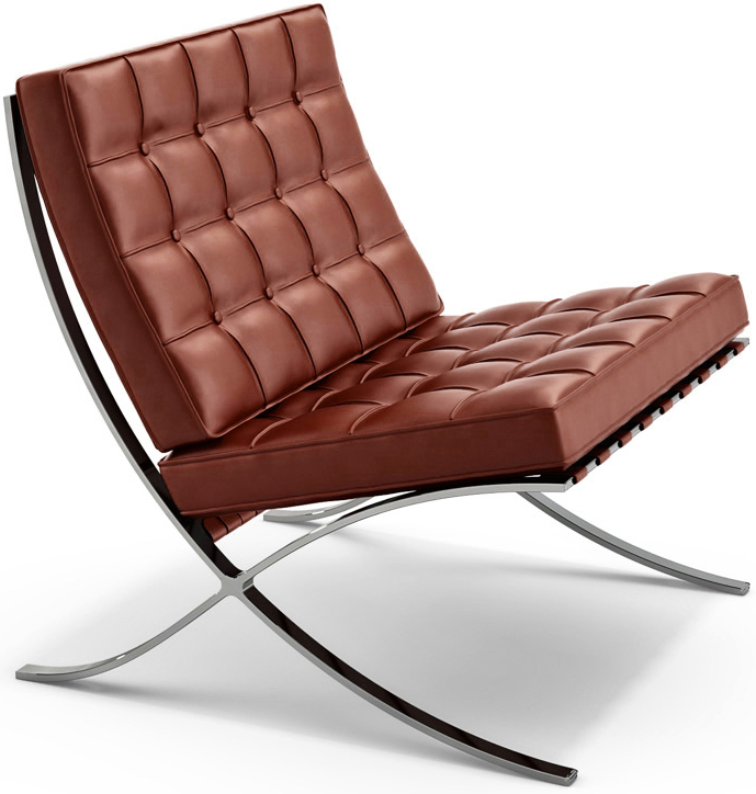 """Классика современного дизайна - кресло и оттоманка Barcelona, созданные Людвиг Мис ван дер Роэм в 1929 году для Всемирной Выставки в Барселоне. Кресло в производстве почти 80 лет и по-прежнему остается иконой дизайна, """"обязательной"""" частью в домах и офисах ценителей искусства, архитекторов и дизайнеров. Производимое по первоначальными спецификациям кресло Barcelona продолжает быть олицетворением стиля. Этот предмет современного искусства идеально дополнит вашу гостиную, кабинет, зону отдыха, спальню или офис.  Элегантное основание кресла выполнено из полированной хромированной стали для сильной поддержки, устойчиво к трещинам и коррозии. Сидение и спинка выполнены из подушек индивидуального покроя и обеспечивают оптимальную поддержку и комфорт."""