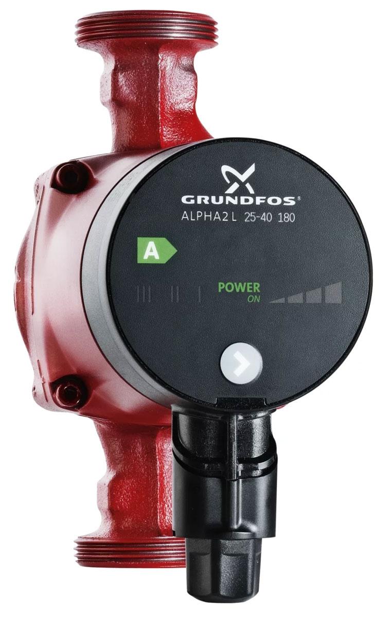 """Насос с ротором и двухполюсным синхронным двигателем  Grundfos """"Alpha2 25-40"""" предназначен для обеспечения  циркуляции теплоносителя в системах отопления. Корпус агрегата выполнен из чугуна. Рабочее колесо  изготовлено из синтетического материала, обладающего  высокой антикоррозионной устойчивостью. Ротор изолирован  от статора защитной герметичной гильзой, поэтому насос  вместе с электродвигателем образуют единый узел без  уплотнений вала. В узле используются две уплотнительные  прокладки. Радиальные керамические подшипники  смазываются перекачиваемой жидкостью. Электродвигатель имеет встроенную тепловую защиту.  Отличительные особенности: - встроенная автоматическая регулировка; - 3-позиционный переключатель скорости; - частотный преобразователь; - функция ночного режима работы; - деблокировка вала насоса; - индикатор текущего энергопотребления; - широкий спектр применения; - длительный срок службы. Насос Grundfos """"Alpha2 25-40"""" оснащен частотным  преобразователем, автоматически регулирующим  потребляемую мощность в процессе изменения параметров  гидросистемы отопления. Циркуляционный насос  пропорционально изменяет давление в системе или  поддерживает его на постоянном уровне. В ответ на  уменьшение теплопотребления, давление в системе  отопления также снижается. При уменьшении подачи насоса  давление в системе перед вентилем падает, что устраняет  причину возникновения шума. При выполнении монтажных работ насос устанавливается в  таком положении, чтобы вал электродвигателя был  расположен горизонтально. Циркуляционный насос Grundfos """"Alpha2 25-40"""" используется в  однотрубных и двухтрубных системах отопления, а также в  смесительных контурах крупных систем. Кинематическая вязкость воды - не более 1 мм2/с (1сСт) при  +20°С.  Температура перекачиваемой жидкости - от +2°С до +110°С.  Мощность (1,2,3 скорость): 6-25 Вт. Монтажная длина: 180 мм. Номинальное напряжение: 1 x 230 В. Максимальное рабочее давление:10 бар. Присоединение: G 1 1/2"""". Напор: 4 м. Количество ско"""
