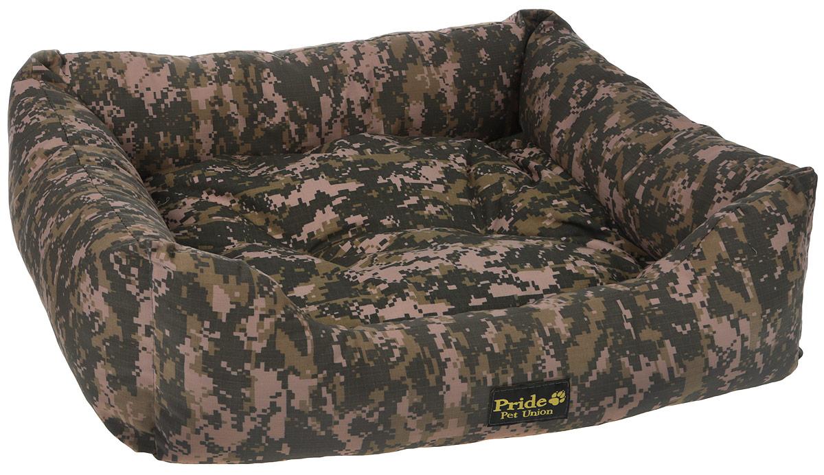 Лежак для животных Pride Милитари-1 70 х 60 х 23 см, цвет: зеленый, бежевый