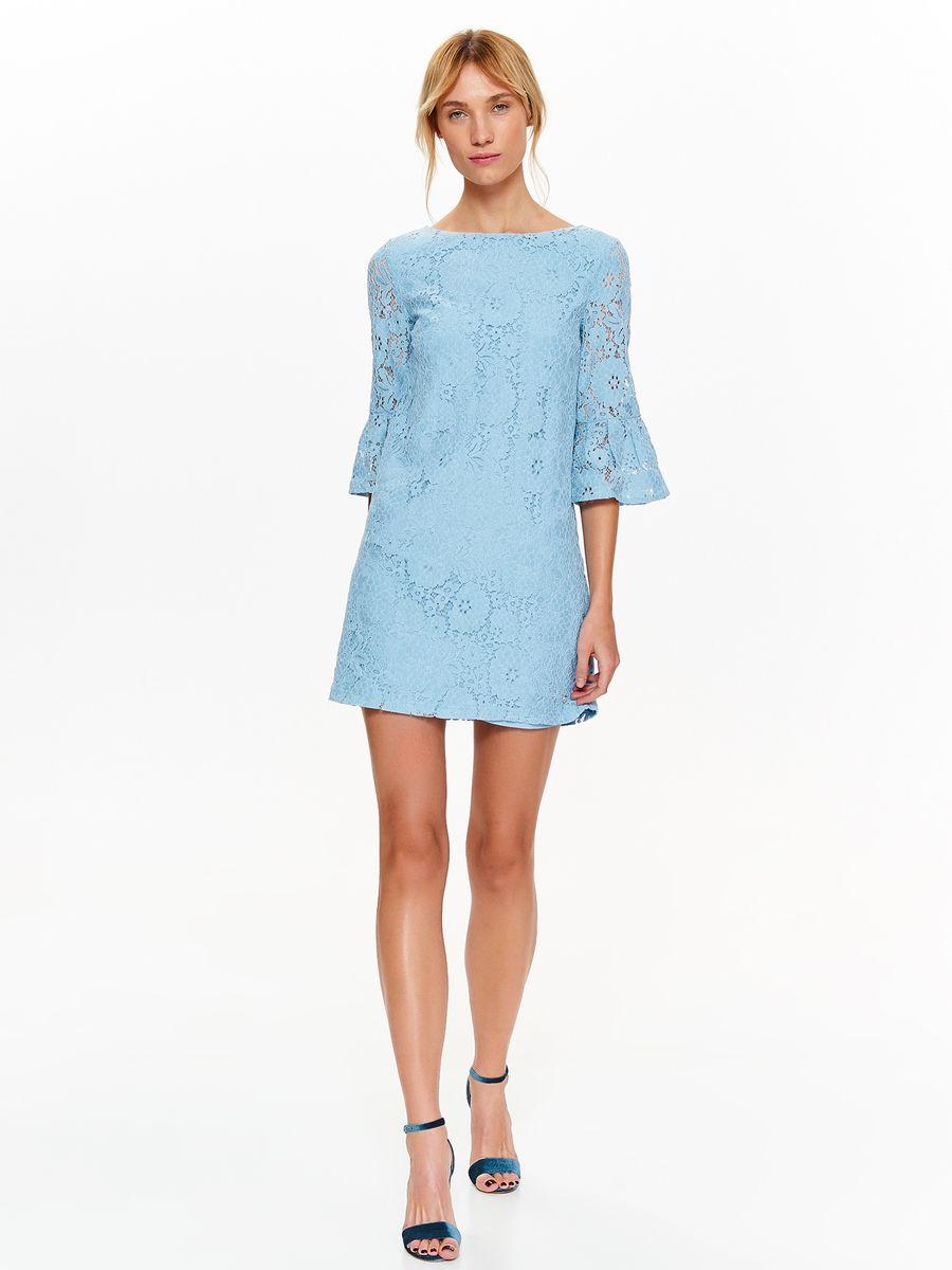 Платье Top Secret, цвет: голубой. SSU2104BL. Размер 34 (42)SSU2104BLИзящное платье Top Secret выполненное из роскошного кружева, станет стильным дополнением к вашему гардеробу. Модель на подкладке, слегка расклешенного фасона. Рукава длиной 3/4, которые заканчиваются очаровательными рюшами. Это нарядное платье для вечеринок, которое не обязывают, которое сделает образ восхитительным и заманчивым.