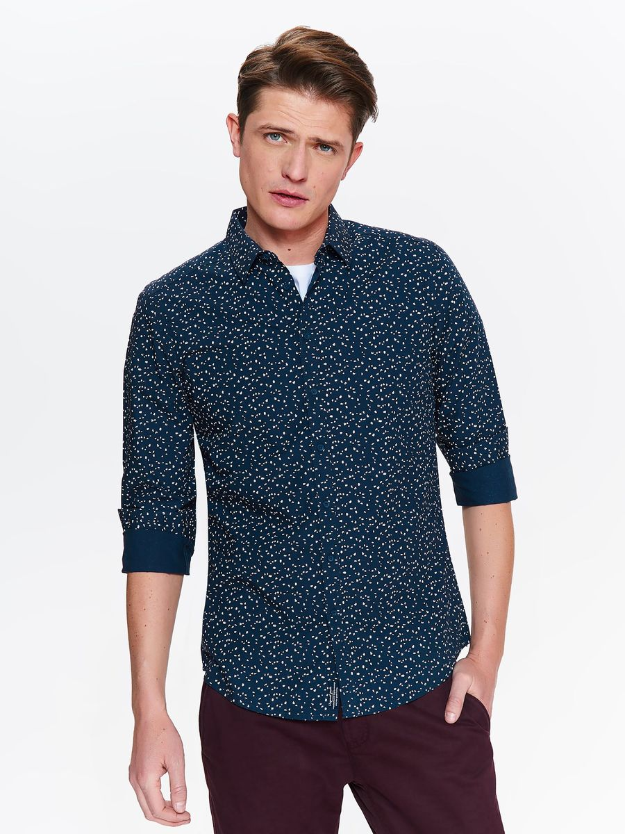 Рубашка мужская Top Secret, цвет: темно-синий. SKL2533GR. Размер 44/45 (52) рубашка мужская top secret цвет темно синий skl2533gr размер 44 45 52