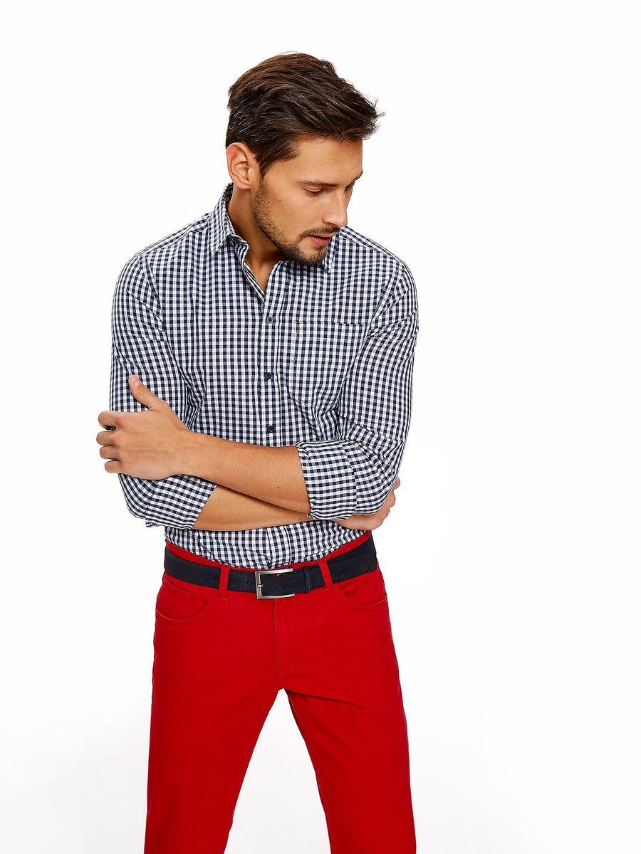 Рубашка мужская Top Secret, цвет: темно-синий. SKL2550GR. Размер 44/45 (52) рубашка мужская top secret цвет темно синий skl2533gr размер 44 45 52