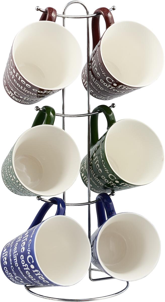 Набор кружек Loraine, цвет: коричневый, синий, зеленый, 7 предметов набор кружек loraine coffee 5 предметов