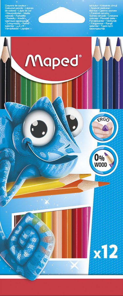 Набор цветных карандашей Maped Pulse, 12 цветов в упаковке. Бюджетное предложение - неизменный хит продаж! Карандаши изготовлены из пластика высокого качества. Карандаши соответствуют всем европейским и российским стандартам. Прочный грифель. Эргономичные: карандаши треугольной формы легче держать в руке, проще и удобнее использовать. Яркая упаковка! Сочные и насыщенные цвета! Идеально для детских учебных учреждений.
