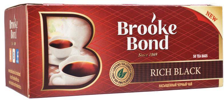 Brooke Bond Насыщенный черный чай в пакетиках, 50 шт